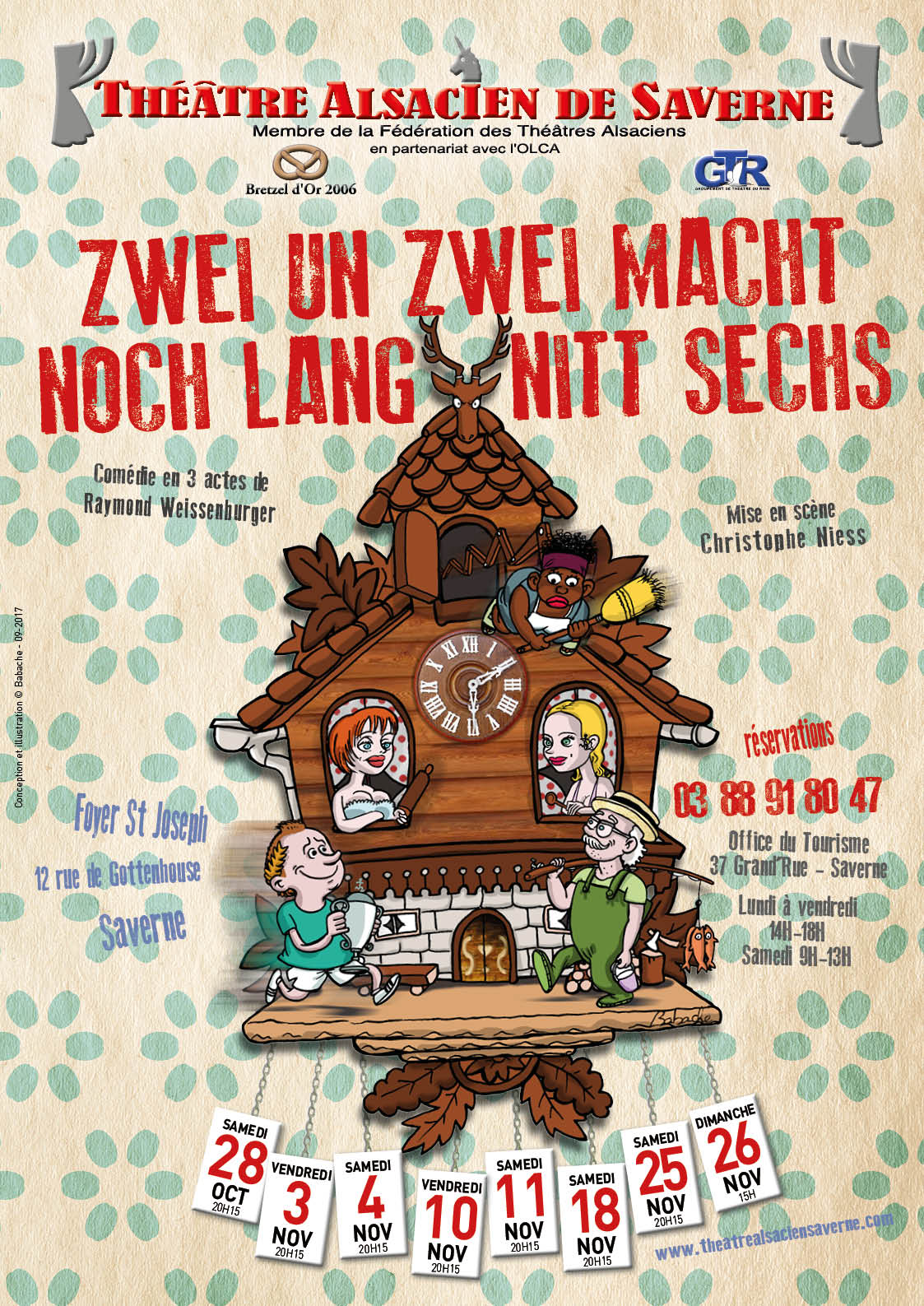 """La comédie « Zwei un zwei macht noch lang nitt """"sechs"""" », de Raymond Weissenburger, sera présentée au foyer Saint-Joseph à partir du samedi 28 octobre."""